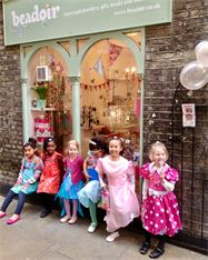 Childrens jewellery making party at the Beadoir shop Greenwich Market London